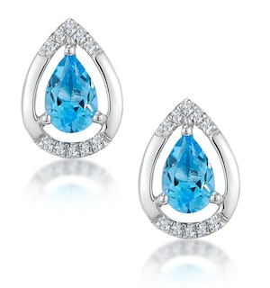 Stellato 1.10ct Swiss Blue Topaz and Diamond Earrings in 9K White Gold