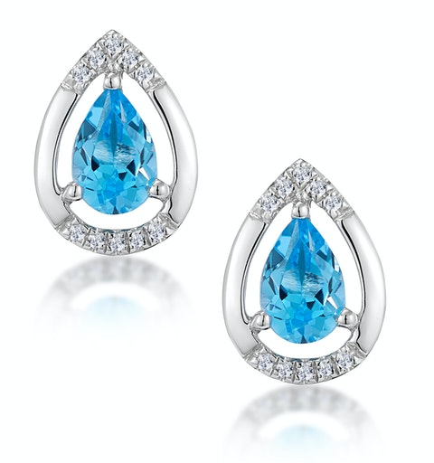 Stellato 1.10ct Swiss Blue Topaz and Diamond Earrings in 9K White Gold - image 1