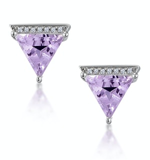 Stellato Triangle Amethyst and Diamond Earrings in 9K White Gold