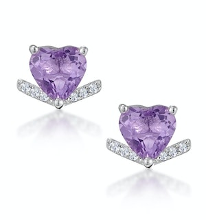 Stellato Amethyst and Diamond Heart Earrings in 9K White Gold