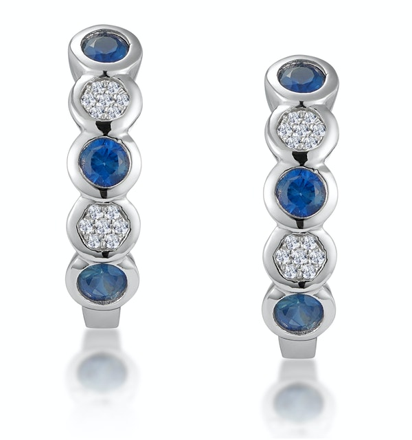Stellato Sapphire and Diamond Eternity Earrings in 9K White Gold - image 1