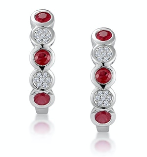 Stellato Ruby and Diamond Eternity Earrings in 9K White Gold