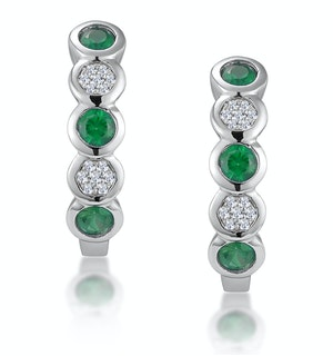 Stellato Emerald and Diamond Eternity Earrings in 9K White Gold