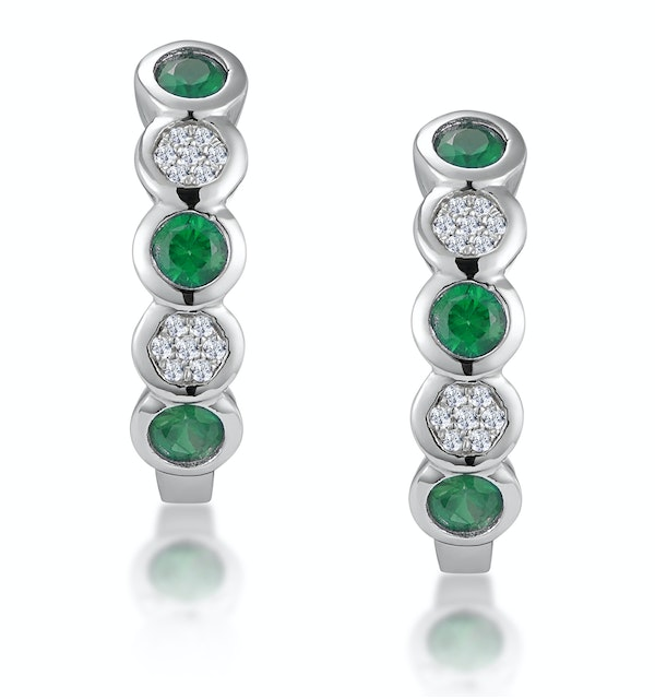 Stellato Emerald and Diamond Eternity Earrings in 9K White Gold - image 1