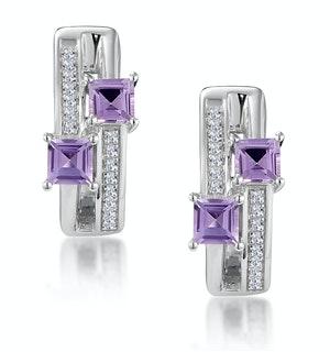 Twin Amethyst and Diamond Stellato Earrings in 9K White Gold