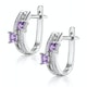 Twin Amethyst and Diamond Stellato Earrings in 9K White Gold - image 2