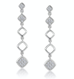 Stellato Collection Diamond Drop Earrings in 9K White Gold