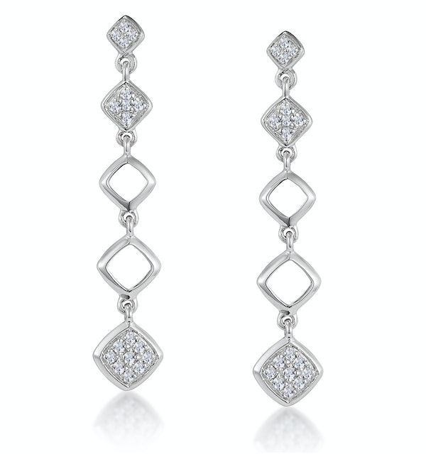 Stellato Collection Diamond Drop Earrings in 9K White Gold - image 1