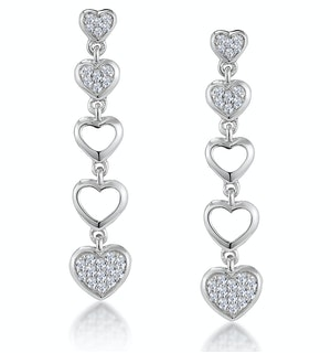 Stellato Collection Drop Diamond Heart Earrings in 9K White Gold
