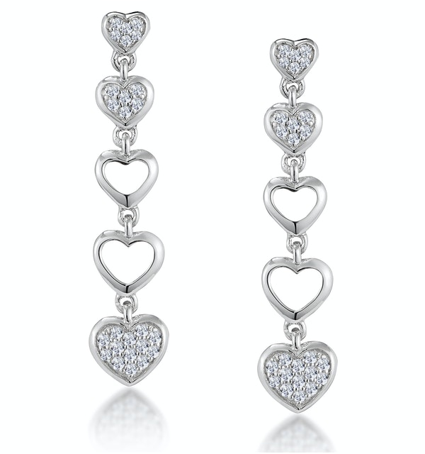 Stellato Collection Drop Diamond Heart Earrings in 9K White Gold - image 1