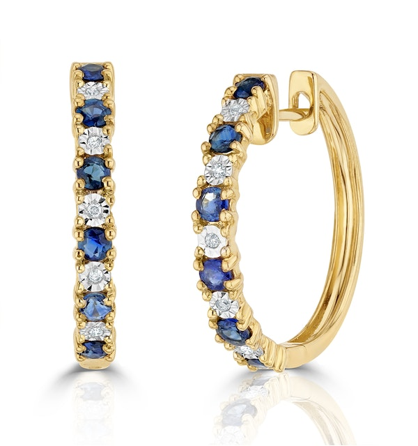 Sapphire 0.71ct and Diamond Hoop Earrings in 9K Gold - image 1