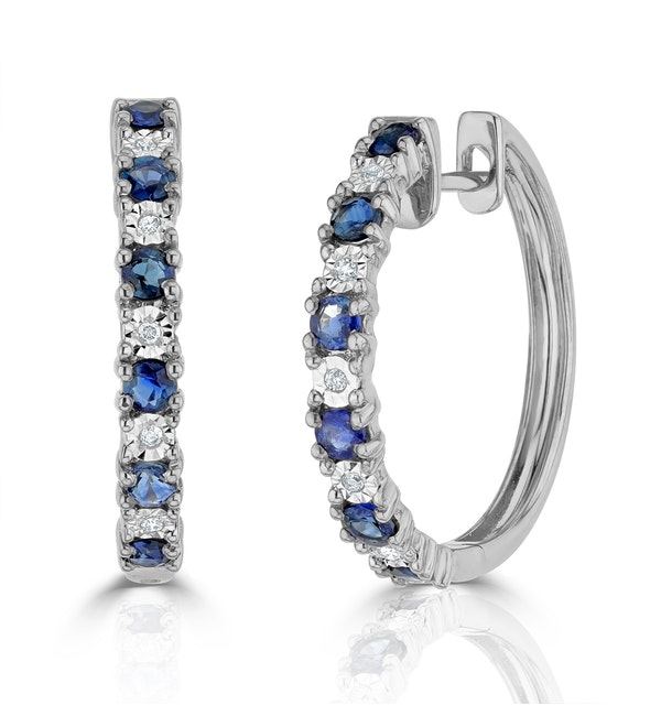 Stellato Sapphire 0.71ct And Diamond 9K White Gold Earrings - image 1