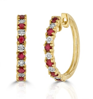 Stellato Ruby 0.86ct And Diamond 9K Gold Earrings