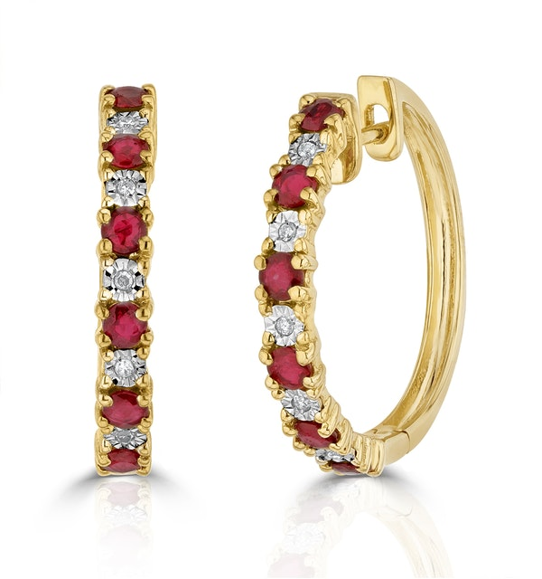 Stellato Ruby 0.86ct And Diamond 9K Gold Earrings - image 1