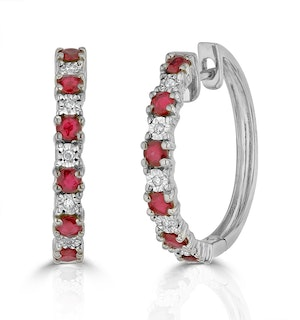 Stellato Ruby 0.86ct And Diamond 9K White Gold Earrings