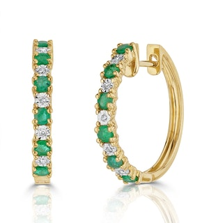 Stellato Emerald 0.63ct And Diamond 9K Gold Earrings