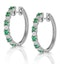 Stellato Emerald 0.63ct And Diamond 9K White Gold Earrings - image 2