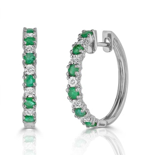 Stellato Emerald 0.63ct And Diamond 9K White Gold Earrings