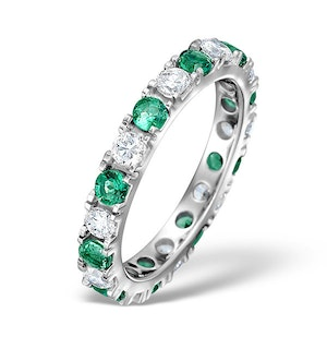 Emerald 0.70ct H/SI Diamond 18KW Gold Eternity Ring Item HG20-322GJUY