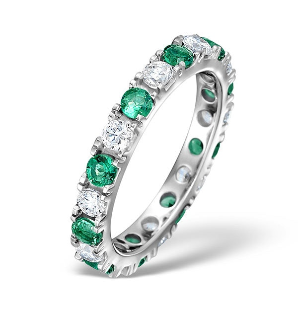 Emerald 0.70ct G/VS Diamond Platinum Eternity Ring Item HG20-322GXUS - image 1