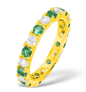 Poppy 18K Gold Emerald 0.70ct and H/SI 1CT Diamond Eternity Ring