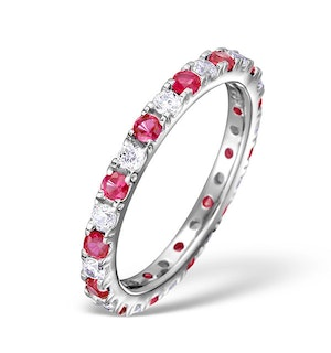 Ruby 0.80ct And H/SI Diamond Platinum Eternity Ring  HG20-322TJUS