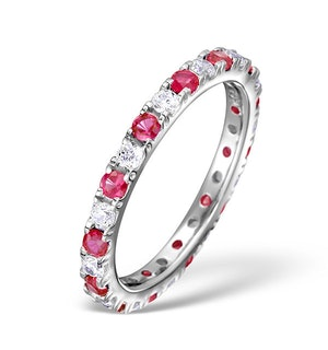 Ruby 0.80ct And H/SI Diamond 18KW Gold Eternity Ring  HG20-322TJUY