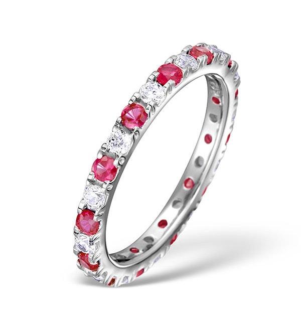 Ruby 0.80ct And H/SI Diamond Platinum Eternity Ring  HG20-322TJUS - image 1