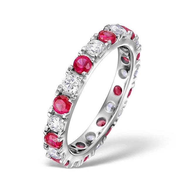 Ruby 1.50ct G/VS Diamond Platinum Eternity Ring Item HG20-422TXUS - image 1