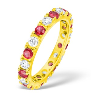 Poppy 18K Gold Ruby 0.70ct and H/SI 1CT Diamond Eternity Ring