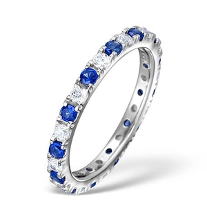 Sapphire 0.90ct And H/SI Diamond Platinum Eternity Ring