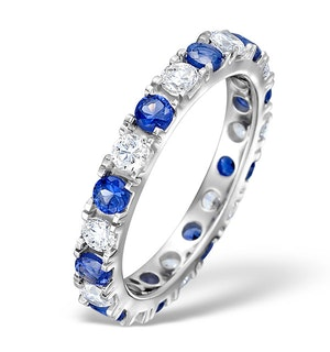 Sapphire 1.70ct H/SI Diamond Platinum Eternity Ring Item HG20-422UJUS