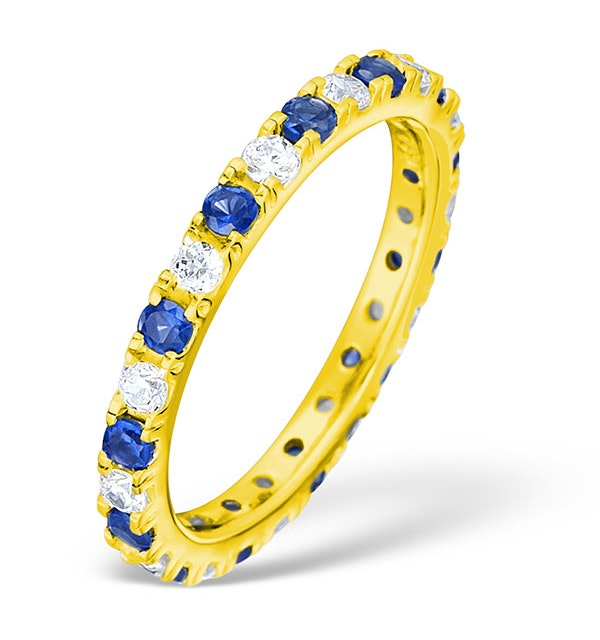 Poppy 18K Gold Sapphire 0.70ct and H/SI 1CT Diamond Eternity Ring - image 1