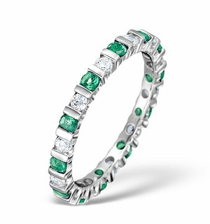Emerald 0.70ct And H/SI Diamond Platinum Eternity Ring