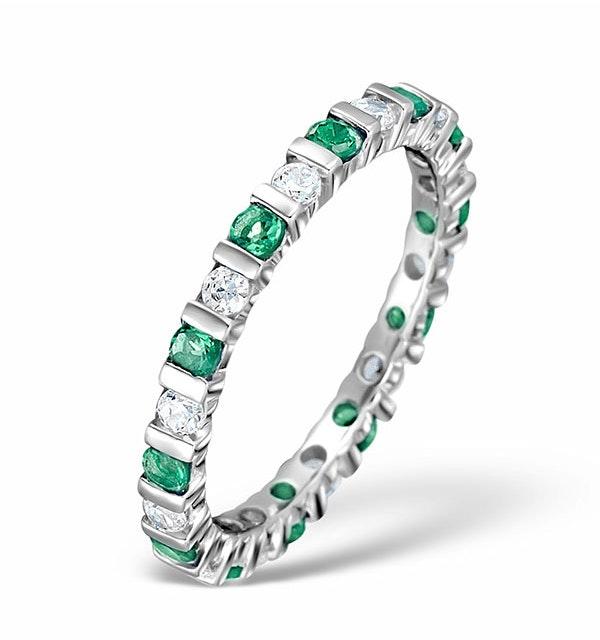 Emerald 0.70ct And H/SI Diamond Platinum Eternity Ring - image 1