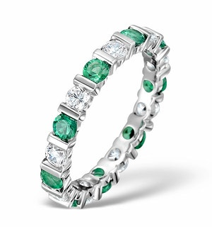 Emerald 1.10ct And H/SI Diamond Platinum Eternity Ring