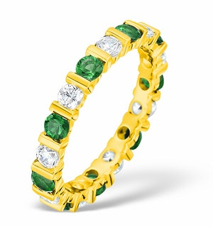 Hannah 18K Gold Emerald 0.70ct and G/VS 2CT Diamond Eternity Ring
