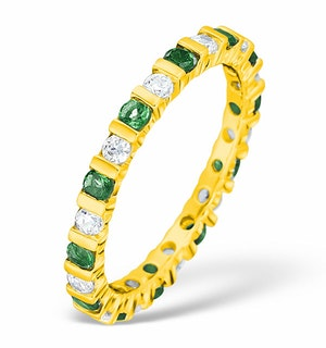 Hannah 18K Gold Emerald 0.70ct and H/SI 1CT Diamond Eternity Ring