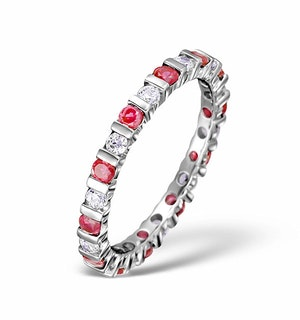 Ruby 0.80ct G/VS Diamond 18KW Gold Eternity Ring Item HG36-322TXUY