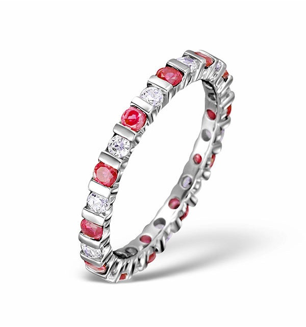 Ruby 0.80ct G/VS Diamond Platinum Eternity Ring Item HG36-322TXUS - image 1
