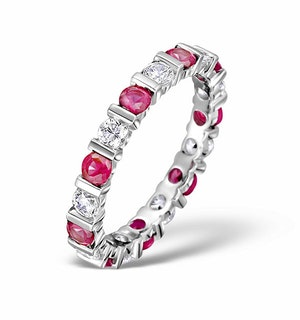 Ruby 1.50ct And G/VS Diamond Platinum Eternity Ring