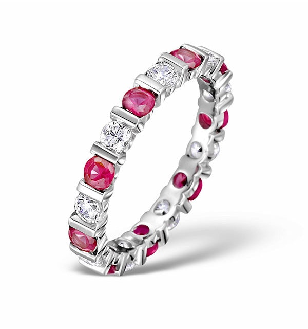 Ruby 1.50ct And G/VS Diamond Platinum Eternity Ring - image 1