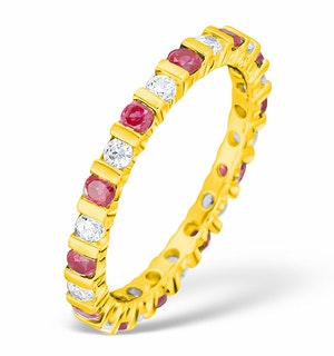 Hannah 18K Gold Ruby and H/SI 1CT Diamond Eternity Ring HG36-322TJUA