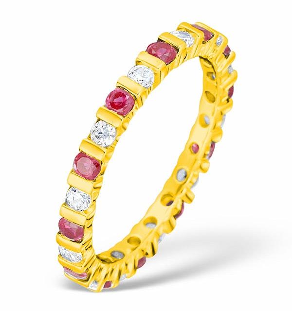 Hannah 18K Gold Ruby and H/SI 1CT Diamond Eternity Ring HG36-322TJUA - image 1