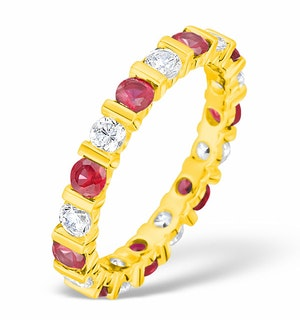 Hannah 18K Gold Ruby 0.70ct and H/SI 1CT Diamond Eternity Ring