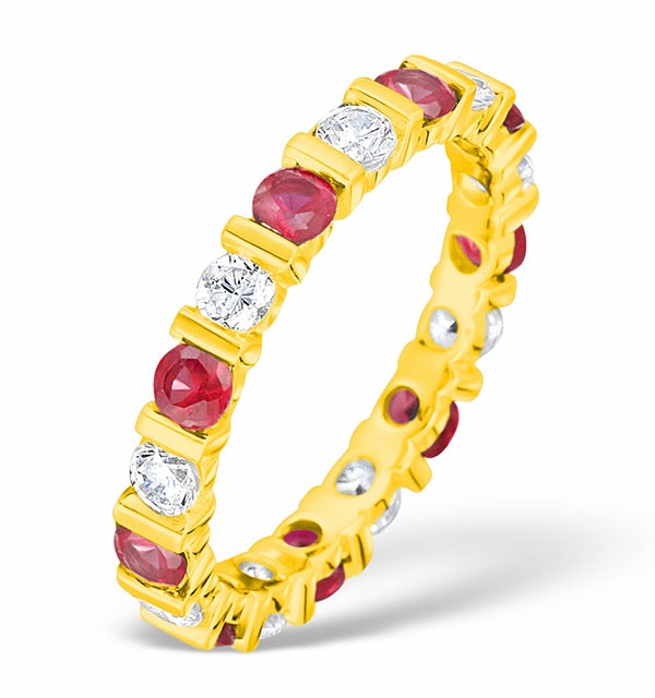 Hannah 18K Gold Ruby 0.70ct and H/SI 1CT Diamond Eternity Ring - image 1