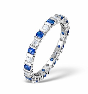 Sapphire 0.90ct G/VS Diamond Platinum Eternity Ring Item HG36-322UXUS