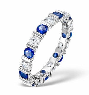 Sapphire 1.70ct And H/SI Diamond Platinum Eternity Ring  HG36-422UJUS