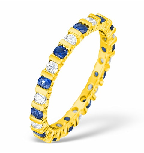 Hannah 18K Gold Sapphire 0.70ct and H/SI 1CT Diamond Eternity Ring - image 1