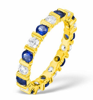 Hannah 18K Gold Sapphire 0.70ct and H/SI 2CT Diamond Eternity Ring